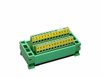 Anschlussleiste für DIN-Schiene DIN – DB25 terminal block + Anschlussbänder